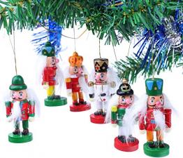 Brubaker 6-teiliges Set Nussknacker Holzanhänger - Baumschmuck für den Weihnachtsbaum - Weihnachtsanhänger Christbaumschmuck aus Holz - Handbemalt - 1