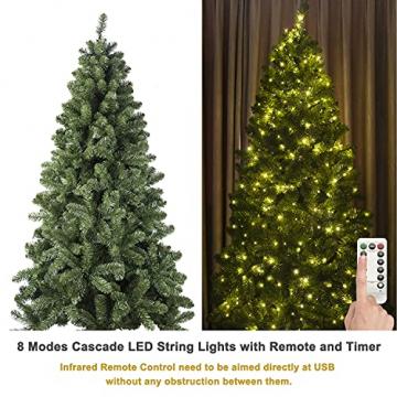 Busybee 210cm Künstlicher Weihnachtsbaum mit beleuchtung 400 LEDs und Ornamenten Reine Champagner-Weihnachtsdekoration, einschließlich voller künstlicher Christbaumkugeln - 2