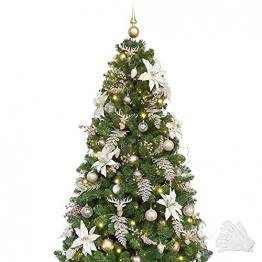 Busybee 210cm Künstlicher Weihnachtsbaum mit beleuchtung 400 LEDs und Ornamenten Reine Champagner-Weihnachtsdekoration, einschließlich voller künstlicher Christbaumkugeln - 1