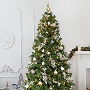 Busybee 210cm Künstlicher Weihnachtsbaum mit beleuchtung 400 LEDs und Ornamenten Reine Champagner-Weihnachtsdekoration, einschließlich voller künstlicher Christbaumkugeln - 5