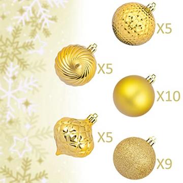 Busybee weihnachtskugeln 34 Stücke 6CM Ornamente für Weihnachtsbaum Gold Christbaumkugeln Weihnachtsdekoration Kugeln - 3