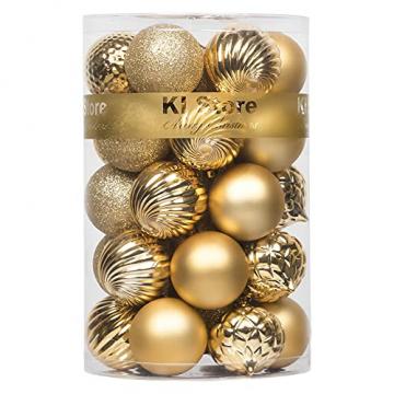 Busybee weihnachtskugeln 34 Stücke 6CM Ornamente für Weihnachtsbaum Gold Christbaumkugeln Weihnachtsdekoration Kugeln - 1