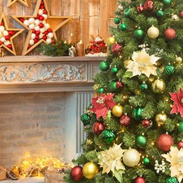 Busybee weihnachtskugeln 34 Stücke 6CM Ornamente für Weihnachtsbaum Gold Christbaumkugeln Weihnachtsdekoration Kugeln - 5