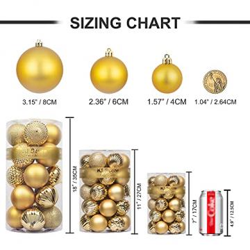 Busybee weihnachtskugeln 34 Stücke 6CM Ornamente für Weihnachtsbaum Gold Christbaumkugeln Weihnachtsdekoration Kugeln - 7