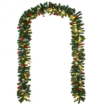 Casaria Weihnachtsgirlande 10m geschmückt 160 LEDs Girlande inkl. Deko Weihnachten Innen Außen IP44 Tannengirlande weiß - 2
