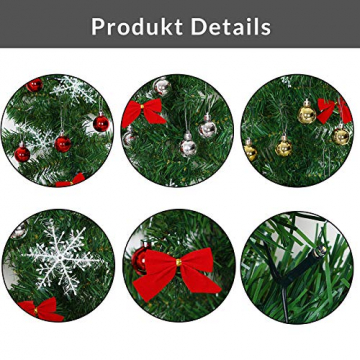 Casaria Weihnachtsgirlande 10m geschmückt 160 LEDs Girlande inkl. Deko Weihnachten Innen Außen IP44 Tannengirlande weiß - 3