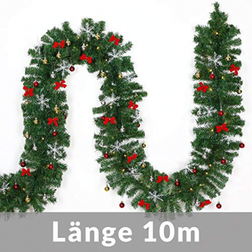 Casaria Weihnachtsgirlande 10m geschmückt 160 LEDs Girlande inkl. Deko Weihnachten Innen Außen IP44 Tannengirlande weiß - 7