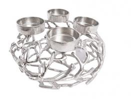 CB Home % Style Adventskranz Kerzenhalter Aluminium Silber Metall Durchmesser 35 cm Weihnachten - 1