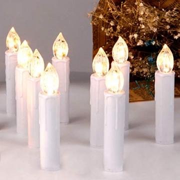 CCLIFE LED Weihnachtskerzen Kabellos Kerzen Weihnachtsbaumkerzen Christbaumkerzen mit Fernbedienung Timer Kerzenlichter, Farbe:30er Weiss - 1