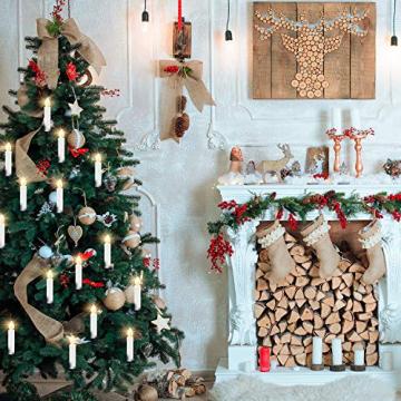 CCLIFE LED Weihnachtskerzen Kabellos Kerzen Weihnachtsbaumkerzen Christbaumkerzen mit Fernbedienung Timer Kerzenlichter, Farbe:30er Weiss - 5
