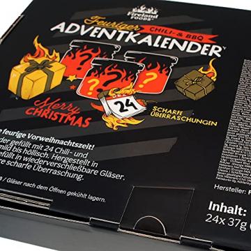 Chili- und BBQ-Adventskalender mit 24 Produkten | von mild bis höllisch | Geschenk für Advent und Weihnachten | Geschenk für Männer | Version mit Türchen | 880g (24x37g) - 5