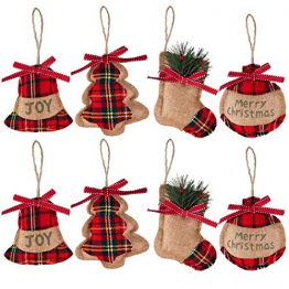Christbaumanhänger 8 Weihnachtsbaumschmuck Deko-Anhänger aus Filz Christbaum Anhänger Hängende Ornamente, Glocke/ Weihnachtsbaum/Strumpf/Stocking ball formen für weihnachtsbaum anhänger glocke urlaub - 1