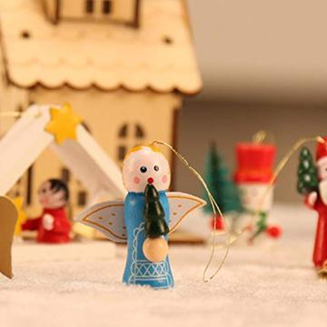 Christbaumanhänger Wunderschöner Holz Baumbehang als 48er Set Weihnachtsbaumschmuck Deko-Anhänger Miniatur Ornamente Baumschmuck Holzanhänger Hänger Holz Weihnachten handbemalt Christbaum-Anhänger - 7