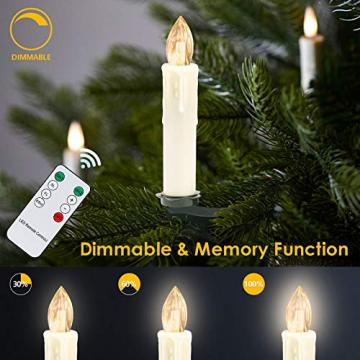 Clanmacy 20 Stück LED Weihnachtskerzen kabellos, Dimmbar Flammenlose Kerzenlichter mit Fernbedienung Timer, warmweiß Christbaumkerzen für Weihnachtsdeko Hochzeit Geburtstags Party - 4