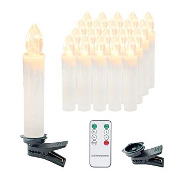 Clanmacy 20 Stück LED Weihnachtskerzen kabellos, Dimmbar Flammenlose Kerzenlichter mit Fernbedienung Timer, warmweiß Christbaumkerzen für Weihnachtsdeko Hochzeit Geburtstags Party - 1