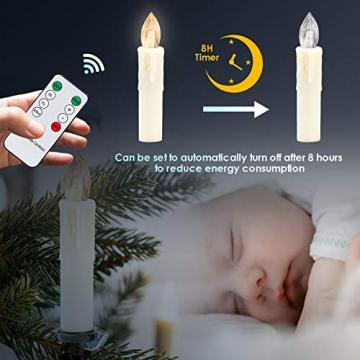 Clanmacy 20 Stück LED Weihnachtskerzen kabellos, Dimmbar Flammenlose Kerzenlichter mit Fernbedienung Timer, warmweiß Christbaumkerzen für Weihnachtsdeko Hochzeit Geburtstags Party - 5