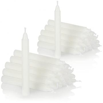 com-four® 40X Baumkerzen aus Wachs - Weihnachtsbaumkerzen, Christbaumkerzen, Pyramidenkerzen für Weihnachten - Kerzen klein - Ø 11 x 105 mm (40 Stück - weiß) - 1