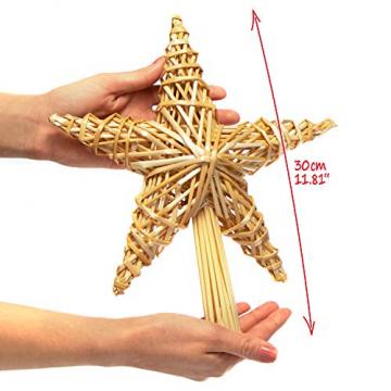 com-four® Christbaumspitze als Weihnachtsbaumschmuck aus Stroh - Strohstern-Spitze für den Weihnachtsbaum - Christbaum-Schmuck - natürlicher Christbaum-Behang - 5