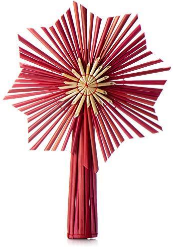 com-four® Christbaumspitze als Weihnachtsbaumschmuck aus Stroh - Strohstern-Spitze für den Weihnachtsbaum - Christbaum-Schmuck - natürlicher Christbaum-Behang - 1