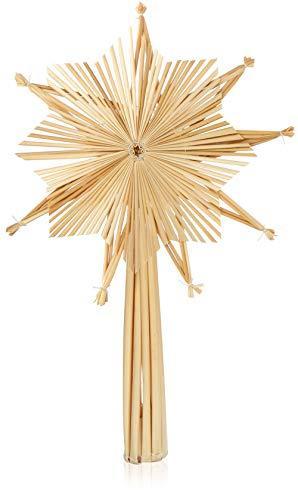 com-four® Stern Christbaumspitze aus Stroh, Weihnachtsbaumspitze Stern aus Stroh für Weihnachten, Tannenbaumspitze für Ihren Christbaum, 24,5 cm - 1