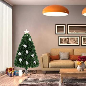 COSTWAY 90/120/150/180 LED Künstlicher Weihnachtsbaum mit Glasfaser-Farbwechsler und Sternspitze, Tannenbaum PVC Nadeln, Christbaum ideal für Zuhause, Büro, Geschäfte und Hotels, Grün (120cm) - 3