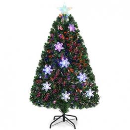 COSTWAY 90/120/150/180 LED Künstlicher Weihnachtsbaum mit Glasfaser-Farbwechsler und Sternspitze, Tannenbaum PVC Nadeln, Christbaum ideal für Zuhause, Büro, Geschäfte und Hotels, Grün (120cm) - 1