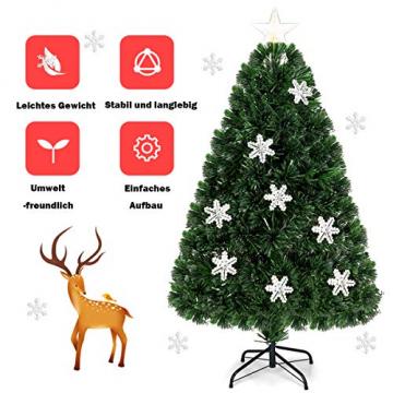 COSTWAY 90/120/150/180 LED Künstlicher Weihnachtsbaum mit Glasfaser-Farbwechsler und Sternspitze, Tannenbaum PVC Nadeln, Christbaum ideal für Zuhause, Büro, Geschäfte und Hotels, Grün (120cm) - 5