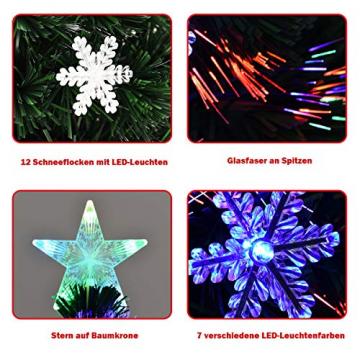 COSTWAY 90/120/150/180 LED Künstlicher Weihnachtsbaum mit Glasfaser-Farbwechsler und Sternspitze, Tannenbaum PVC Nadeln, Christbaum ideal für Zuhause, Büro, Geschäfte und Hotels, Grün (120cm) - 6