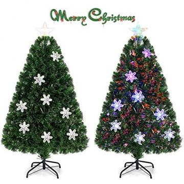 COSTWAY 90/120/150/180 LED Künstlicher Weihnachtsbaum mit Glasfaser-Farbwechsler und Sternspitze, Tannenbaum PVC Nadeln, Christbaum ideal für Zuhause, Büro, Geschäfte und Hotels, Grün (120cm) - 8