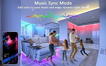 Cozylady Bluetooth LED Strip 15m, Smart APP Steuerbar Musik LED Lichterkette Farbwechsel LED Streifen, 5050 RGB LED Leiste mit Netzteil und Fernbedienung - 5