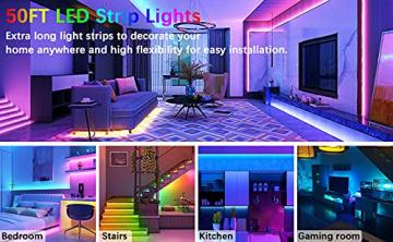 Cozylady Bluetooth LED Strip 15m, Smart APP Steuerbar Musik LED Lichterkette Farbwechsel LED Streifen, 5050 RGB LED Leiste mit Netzteil und Fernbedienung - 6
