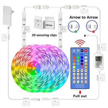 Cozylady Bluetooth LED Strip 15m, Smart APP Steuerbar Musik LED Lichterkette Farbwechsel LED Streifen, 5050 RGB LED Leiste mit Netzteil und Fernbedienung - 7