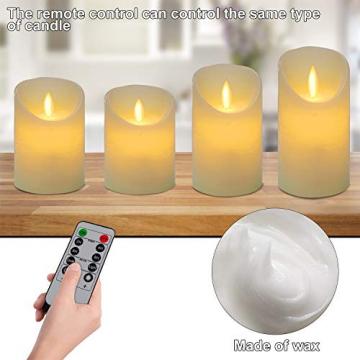 CPROSP 4er LED Kerzen Advent mit Fernbedienung aus Echtwachs, Flammenlose Elfenbeine Kerzen mit Timer, 7,5 x 9/10,5/12,5/15,5 cm, Deko für Hochzeit, Party, Advent (2*AA, Erhhalten keine Batterien) - 3