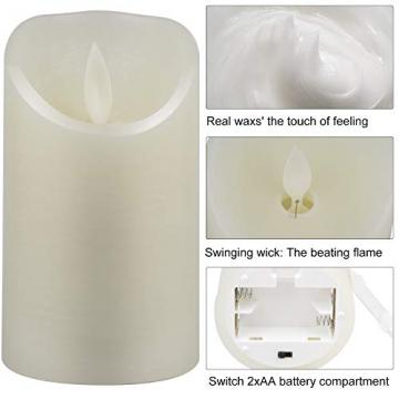 CPROSP 4er LED Kerzen Advent mit Fernbedienung aus Echtwachs, Flammenlose Elfenbeine Kerzen mit Timer, 7,5 x 9/10,5/12,5/15,5 cm, Deko für Hochzeit, Party, Advent (2*AA, Erhhalten keine Batterien) - 4