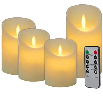 CPROSP 4er LED Kerzen Advent mit Fernbedienung aus Echtwachs, Flammenlose Elfenbeine Kerzen mit Timer, 7,5 x 9/10,5/12,5/15,5 cm, Deko für Hochzeit, Party, Advent (2*AA, Erhhalten keine Batterien) - 1