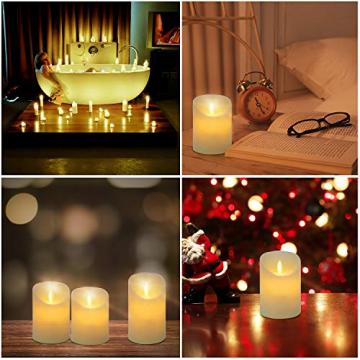 CPROSP 4er LED Kerzen Advent mit Fernbedienung aus Echtwachs, Flammenlose Elfenbeine Kerzen mit Timer, 7,5 x 9/10,5/12,5/15,5 cm, Deko für Hochzeit, Party, Advent (2*AA, Erhhalten keine Batterien) - 5