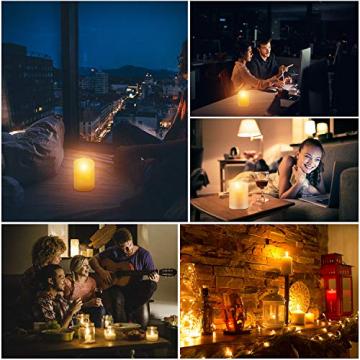 CPROSP 4er LED Kerzen Advent mit Fernbedienung aus Echtwachs, Flammenlose Elfenbeine Kerzen mit Timer, 7,5 x 9/10,5/12,5/15,5 cm, Deko für Hochzeit, Party, Advent (2*AA, Erhhalten keine Batterien) - 6