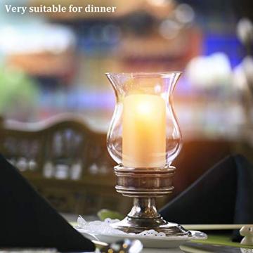 CPROSP 4er LED Kerzen Advent mit Fernbedienung aus Echtwachs, Flammenlose Elfenbeine Kerzen mit Timer, 7,5 x 9/10,5/12,5/15,5 cm, Deko für Hochzeit, Party, Advent (2*AA, Erhhalten keine Batterien) - 7