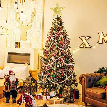 CUIFULI Weihnachtsbaum Stern, 1 STÜCK Christbaumspitze Stern Tannenbaum Spitze Warmweiß 10 LED für Feiertags-Dekorationen - 3