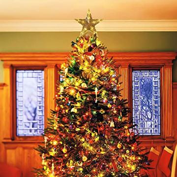 CUIFULI Weihnachtsbaum Stern, 1 STÜCK Christbaumspitze Stern Tannenbaum Spitze Warmweiß 10 LED für Feiertags-Dekorationen - 6