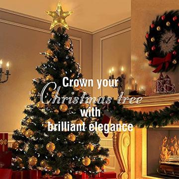 CUIFULI Weihnachtsbaum Stern, 1 STÜCK Christbaumspitze Stern Tannenbaum Spitze Warmweiß 10 LED für Feiertags-Dekorationen - 7