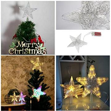 CUIFULI Weihnachtsbaum Stern, 1 STÜCK Christbaumspitze Stern Tannenbaum Spitze Warmweiß 10 LED für Feiertags-Dekorationen - 8