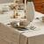 DAPU Leinenservietten Stoffservietten 6-er Set, 45x45 cm 100% französischer Leinen Servietten Stoff, Abwaschbare Servietten mit Hohlsaum Beige/Naturleinen - 3