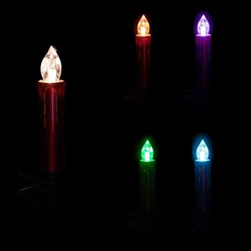 DbKW (Cremeweiß Outdoor2) 20 Kabellose LED-Weihnachtskerzen 3in1, Fernbedienung, Outdoor, Timer, 12 Farben und Farbwechsel, Baumkerzen, Weihnachtsbaumkerzen Weihnachtskerzen Christbaumkerzen - 4
