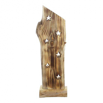 """Deko Objekt """"Sternenleuchten"""" aus Holz, 53 cm hoch, mit LED Lichterkette, Batterie-betrieben, Skulptur - 2"""