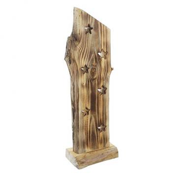 """Deko Objekt """"Sternenleuchten"""" aus Holz, 53 cm hoch, mit LED Lichterkette, Batterie-betrieben, Skulptur - 3"""
