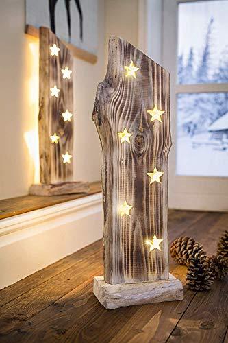 """Deko Objekt """"Sternenleuchten"""" aus Holz, 53 cm hoch, mit LED Lichterkette, Batterie-betrieben, Skulptur - 1"""