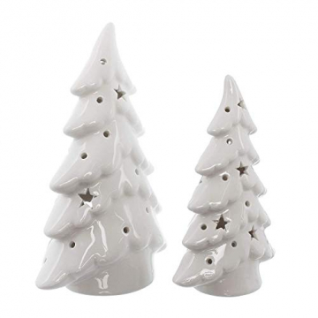 Dekoleidenschaft 2er Set LED Tannen aus Porzellan, Hochglanz weiß, 15 + 19 cm hoch, Tannenbaum beleuchtet, Adventsdeko, Weihnachtsdeko - 4