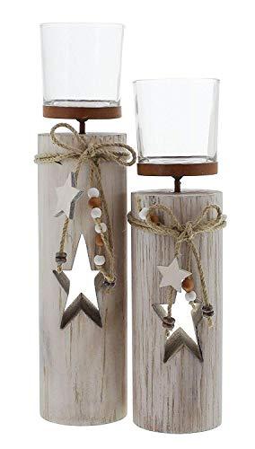 """Dekoleidenschaft 2X Windlichtsäule """"Stern"""" aus Holz und Glas, Teelichthalter im Shabby Look, Kerzenständer, Adventsdeko - 2"""