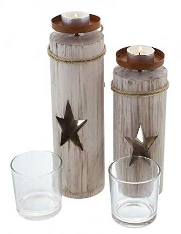"""Dekoleidenschaft 2X Windlichtsäule """"Stern"""" aus Holz und Glas, Teelichthalter im Shabby Look, Kerzenständer, Adventsdeko - 3"""